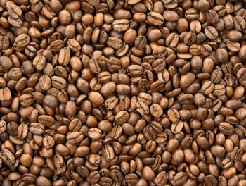 A sample of roasted coffee beans.