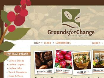 Snapshot of Grounds for Change website