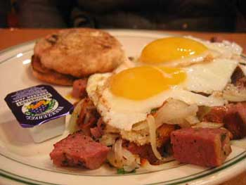 Corned Beef and Eggs at Woodinville Cafe, low angle