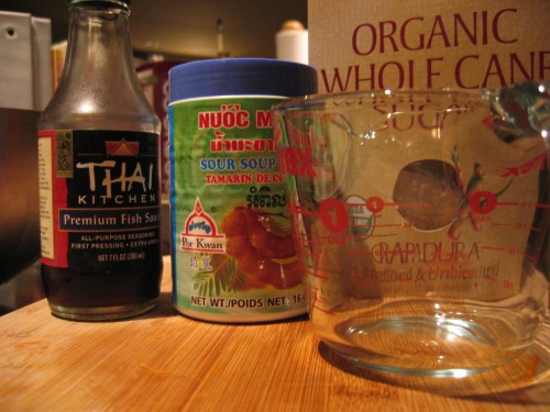 The trinity of thai sauces: fish oil, tamarind paste and sugar