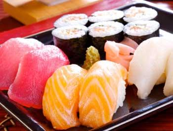 A plate of assorted sushi