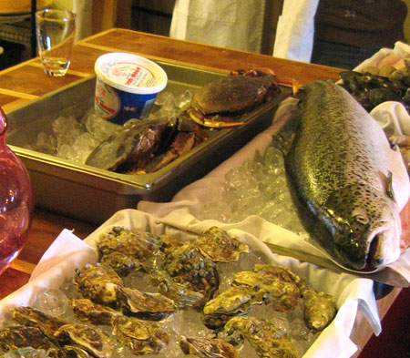Salmon, oysters, crabs and clams